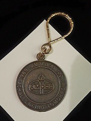 Vintage AMOCO Oil Keyring Fob Century of Success Challenging Tomorrow 1989