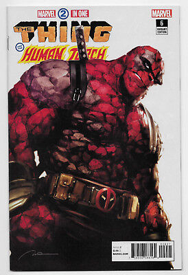 Marvel Two-In-One #6 Comic Parel Thing Deadpool Variant Cover Human Torch FF