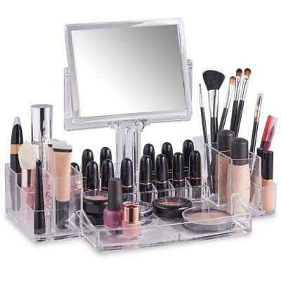 Makeup Cosmetic Organiser With Mirror Acrylic Clear Beauty New