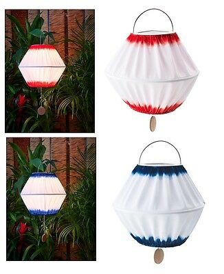 "IKEA LED SOLAR POWERED PENDANT LAMP 13"" Outdoor Light SOLVINDEN Blue White Red"