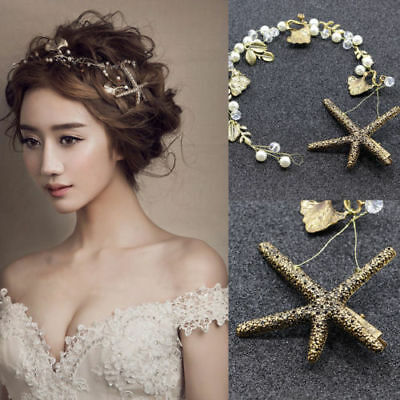 Chic Crystal Starfish Tiara Hair Bands Wedding Bridal Headband Gold Headdress