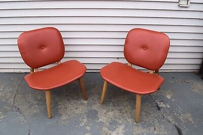 New Pair Mid Century Modern Design Style By Lee Accent Solid Ash Wood Chairs