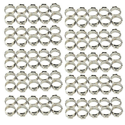 100pcs 1/2 Silver PEX Stainless Steel Clamp Cinch Rings Crimp Pinch Fitting lot