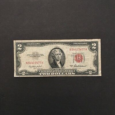 1953 A Series $2 Two Dollar Red Seal Note Bill US Currency Serial # A54417477A
