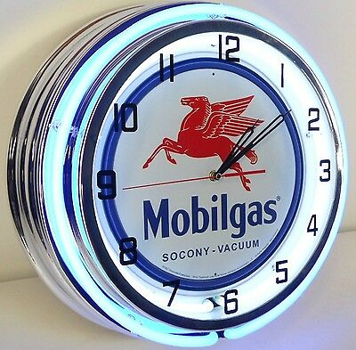 """18"""" Vintage MOBILGAS Metal Sign Double Neon Wall Clock Mobil Gas Station Oil"""