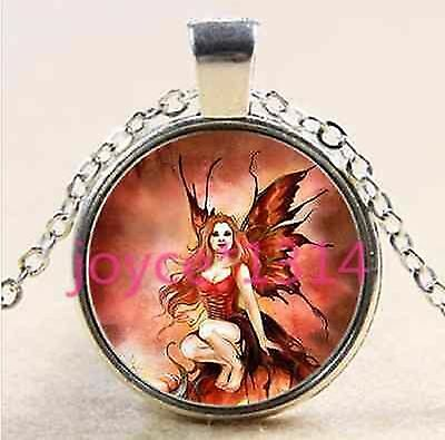 JEZEBEL GOTHIC FAIRY RED WINGS CUTE MYSTICAL glass necklace pendant BUTTERFLY