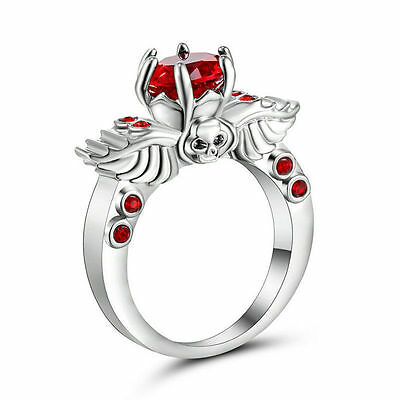 GOTH ruby red blood SILVER METAL SKULL RING SIZE 7 REPLICA GOTHIC WINGS ALCHEMY