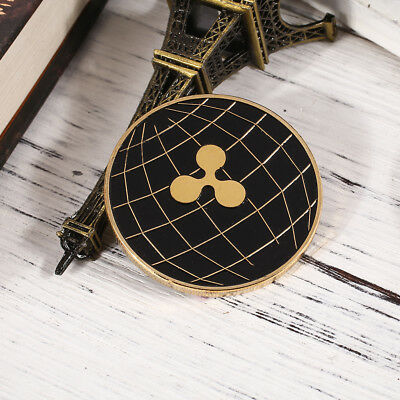 Double-Sided Round Black Gold Bicolourable XRP CRYPTO Ripple Coin
