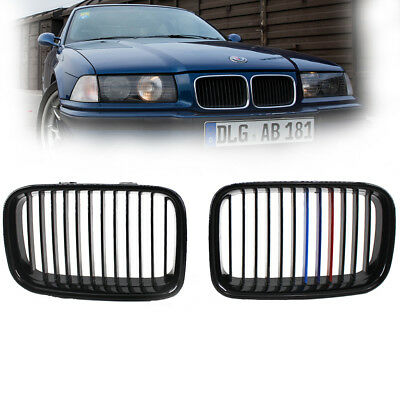 For 92-96 BMW E36 3 Serise Front Gloss Black M color Kidney Sport  Grill Grille