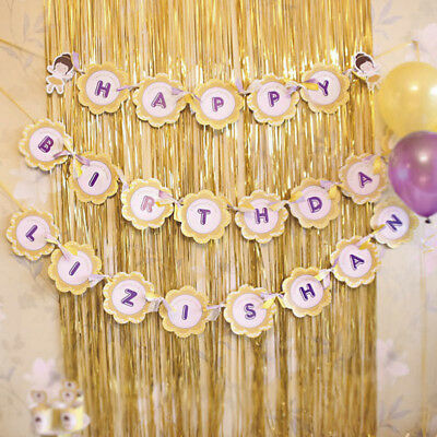 1PC Gold Shimmer Door Curtain Fringe Foil Curtains Tinsel Wedding Party Backdrop