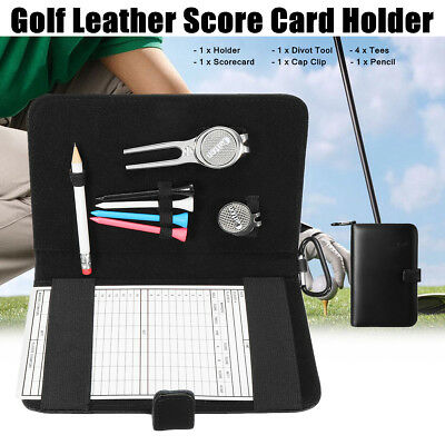 Golf Score Card Holder Counter Keeper Leather Case Notebook + Pencil Golf Tees