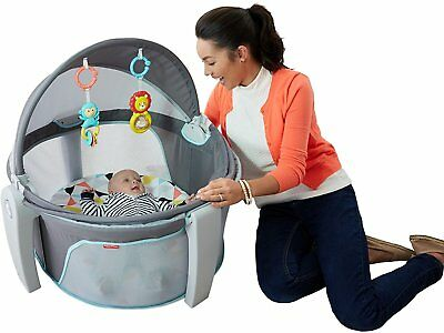 Portable Baby Bed Dome Canopy Sun Shade Infant Playpen Bassinet w/ Toys Hanging