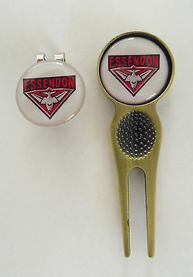 2 Only Essendon Bombers Golf Ball Markers, Divot Tool &  Hat Clip