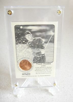 1  Tiger Woods  Rare Coin Card 2000 When He Won 3 Majors- Classy Protector/stand