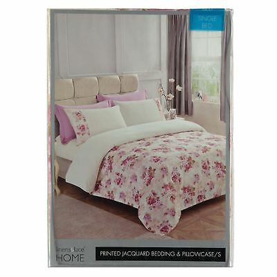 Linens and Lace Stamp Jacquard Duvet Cover Set Unisex Cotton Floral