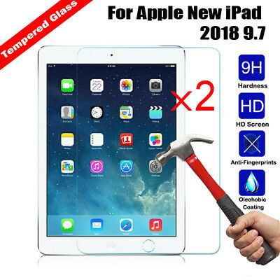 2x 100%Genuine Tempered Glass Screen Protector Cover For Apple New iPad 2018 9.7