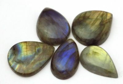 Labradorite Gemstone Handmade Polished Cabochon Pear 15x26mm-23x28mm 156.55 Cts