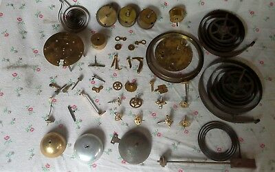 Collection Job Lot Antique Clock Parts Gears Sprockets Bells Springs Steam Punk