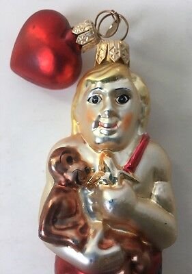 Dept 56 Mercury Glass Cave Man Tarzan Christmas Ornament w Heart Clock Tag 5.5""