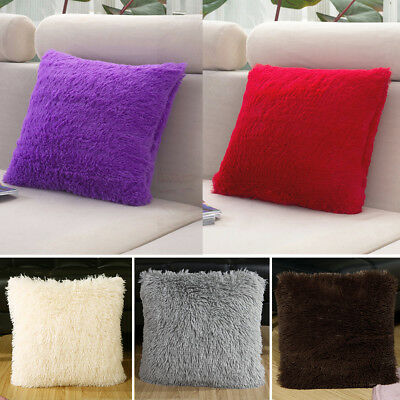 Throw Soft Fur Fluffy Sofa Pillow Plush Luxury Cushion Cover Solid Color 43x43cm