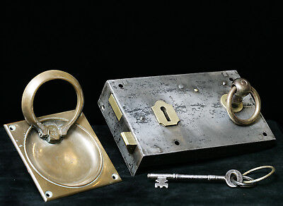 """Antique 1900 -1910 Country House rim lock and """"Gibbons"""" door latch/pull handles."""