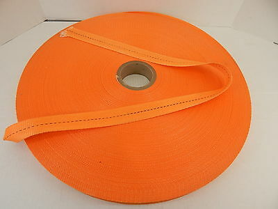 """600' Polyester Woven Strapping 1-1/2"""" Wide Mw Strapping Id 2060 Orange"""
