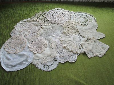 Vintage Mats Hand Crochet & Lace- Collection Of 20 - Cream
