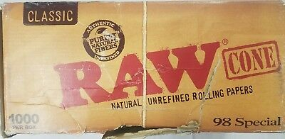 RAW Classic King Size Authentic Pre-Rolled Cones with Filter *950 Pieces* OPENED