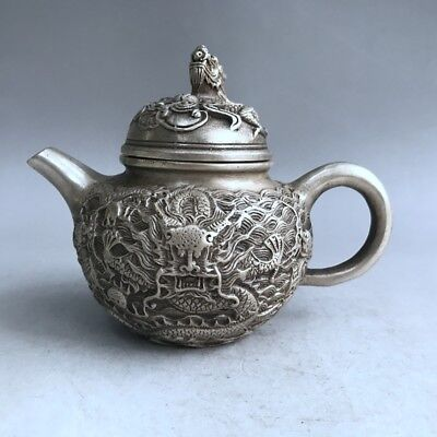 Chinese ancient miao silver hand-carved animal teapot delicate design