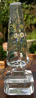 Antique Victorian Glass Obelisk Reverse Painted Flowers C1880 Grand Tour