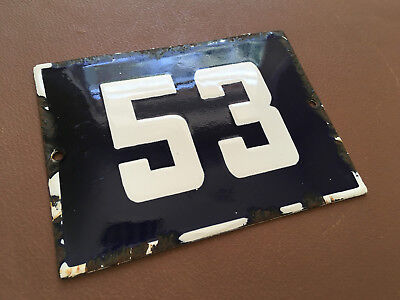 ANTIQUE VINTAGE ENAMEL SIGN HOUSE NUMBER 53 BLUE DOOR GATE STREET SIGN 1950's