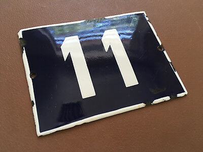 ANTIQUE VINTAGE ENAMEL SIGN HOUSE NUMBER 11 BLUE DOOR GATE STREET SIGN 1950's