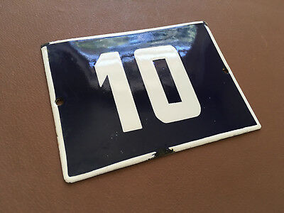 ANTIQUE VINTAGE ENAMEL SIGN HOUSE NUMBER 10 BLUE DOOR GATE STREET SIGN 1950's