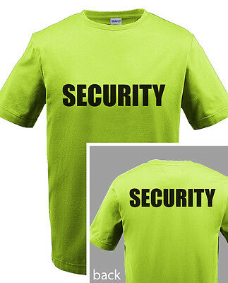 SECURITY T-SHIRT Event Bouncer Staff Party Guard Safety Green Shirt Tee S-5XL