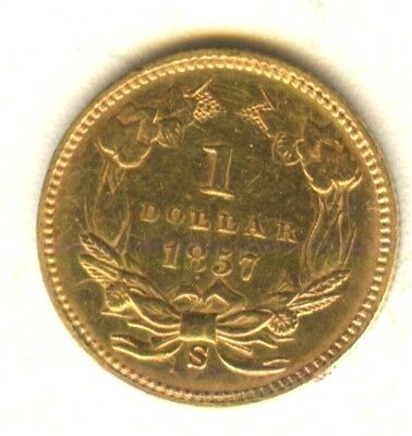 1857 S $1 Gold Type 3 MS Details In Grade Early Gold Type Coin Reflective Fields