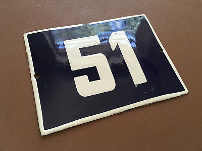 ANTIQUE VINTAGE ENAMEL SIGN HOUSE NUMBER 51 BLUE DOOR GATE STREET SIGN 1950's