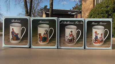 Vintage NIB Norman Rockwell (4) Cups / Mugs 1982 Museum Collection 24K Gold Trim