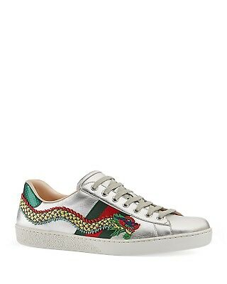 6c80cf81773 GUCCI ACE DRAGON Embroidered Leather Low-Top Sneakers In Silver Size ...