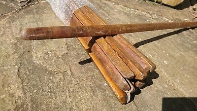 vintage old oak stair carpet rods wooden art deco x17