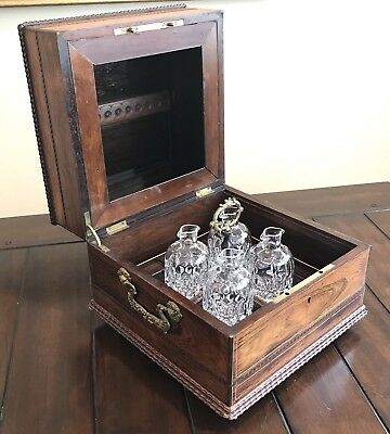 Antique Victorian French Tantalus Cut Glass Liquor Decanter Box Set Brass Inlay