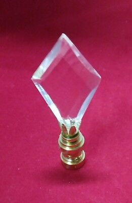 Lamp Topper Shade Finial Clear Lead Crystal Glass Flat Diamond Repair Part Brass
