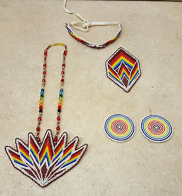 Nice Matching 5 Piece Hand Crafted Cut Beaded Native American Indian Dance Set!