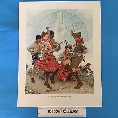 "Boy Scout Norman Rockwell Print 11""x14"" A Good Sign All Over The World"