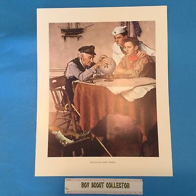 "Boy Scout Norman Rockwell Print 11""x14"" Scouts Of Many Trails"
