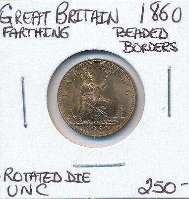 Great Britain Victoria Farthing 1860 Beaded Borders Rotated Die  - Unc