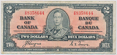 Bank Of Canada 2 Dollars 1937 Bc22C - Net F