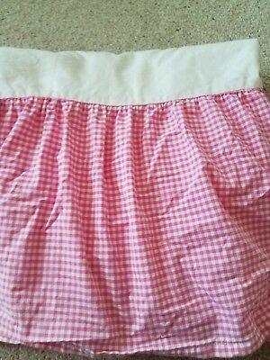 Pottery Barn kids pink gingham crib bed skirt dust ruffle excellent condition