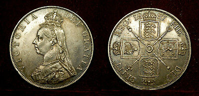 Great Britain - Double Florin 1887 (roman 1) XF or aU, some luster, q. Victoria