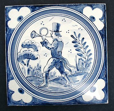 "German Boisenburg 6"" Tile Blue & White Man With Hunting Horn"