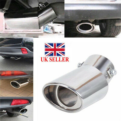 Car Universal Round Stainless Steel Chrome Curved Exhaust Tail Muffler Tip Pipe